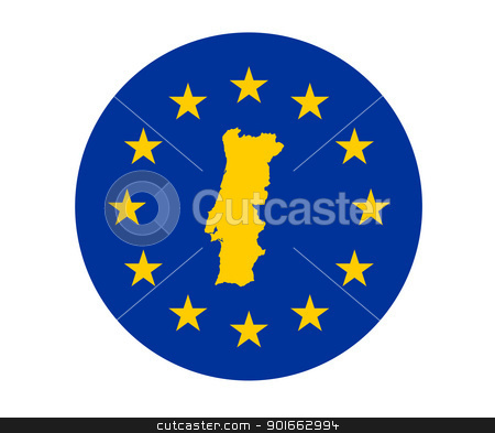 Portugal European flag stock photo, Map of Portugal on European Union flag with yellow stars. by Martin Crowdy