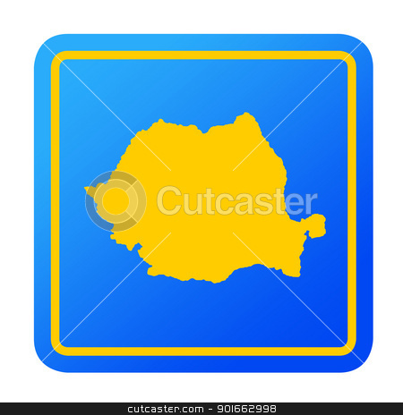 Romania European button stock photo, Romania European button isolated on a white background with clipping path. by Martin Crowdy