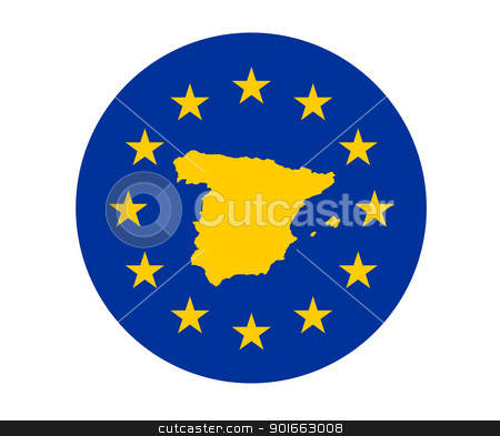 Spain European flag stock photo, Map of Spain on European Union flag with yellow stars. by Martin Crowdy