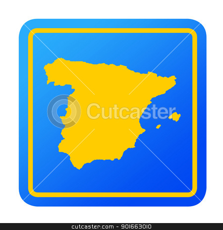 Spain European button stock photo, Spain European button isolated on a white background with clipping path. by Martin Crowdy