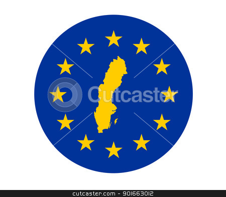 Sweden European flag stock photo, Map of Sweden on European Union flag with yellow stars. by Martin Crowdy
