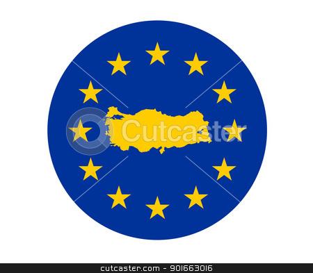 Turkey European flag stock photo, Map of Turkey on European Union flag with yellow stars. by Martin Crowdy