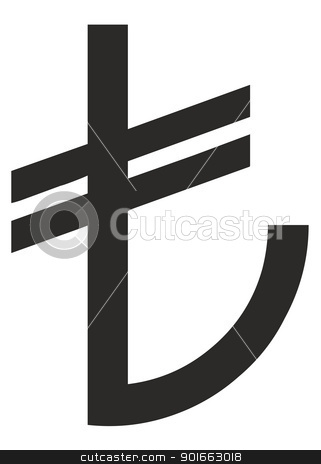 Turkish Lira sign stock photo, New Turkey or Turkish Lira sign from March 2012 isolated on white background. by Martin Crowdy