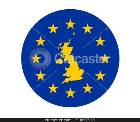 United Kingdom European flag stock photo, Map of United Kingdom on European Union flag with yellow stars. by Martin Crowdy