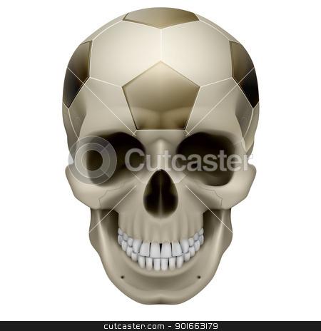 Human Skull stock photo, Human Skull. Football design. Illustration on white background by dvarg