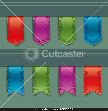 ribbon stock vector clipart, vintage ribbon of different colors by Miroslava Hlavacova