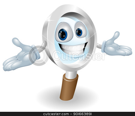 Magnifying glass mascot  stock vector clipart, Magnifying glass man cartoon mascot illustration by Christos Georghiou
