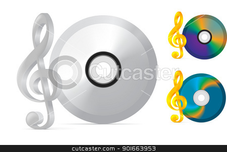 compact disc with treble clef stock photo, compact disc with treble clef on white background by sermax55