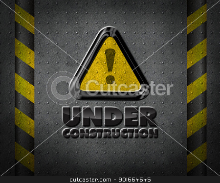 Under construction. stock photo, Under construction sign, on dark metalic background. by christless