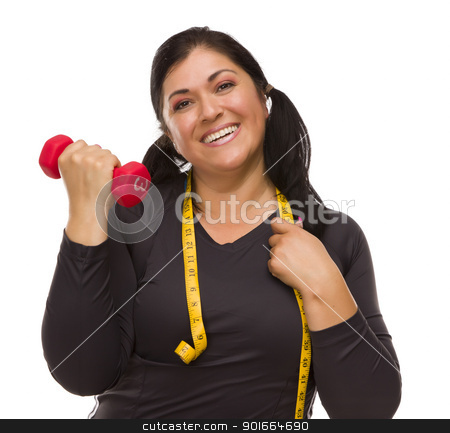 Hispanic Woman with Tape Measure Lifting Dumbbell stock photo, Attractive Hispanic Woman with Tape Measure Lifting Dumbbell Against a White Background. by Andy Dean
