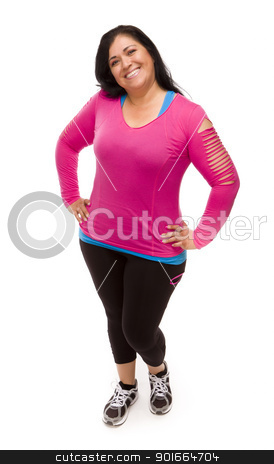 Hispanic Woman In Workout Clothes on White stock photo, Attractive Middle Aged Hispanic Woman In Workout Clothes Against a White Background. by Andy Dean