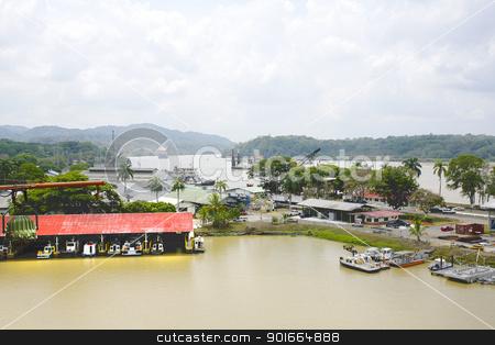 Panama Canal, dredging area stock photo, Panama Canal, dredging area by dacasdo