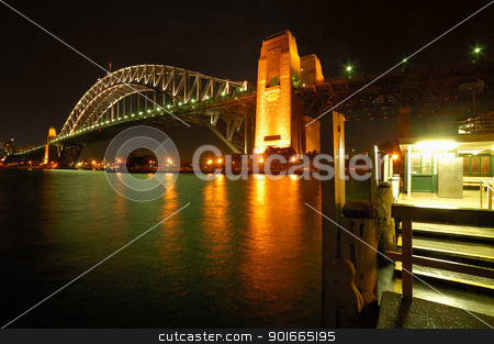 Harbor Bridge stock photo, night photo of Harbour Bridge in Sydney, Photo taken from Kirribilli by Robert Remen