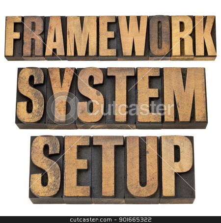 framework, system, setup stock photo, framework, system, setup - a collage of isolated words in vintage letterpress wood type by Marek Uliasz