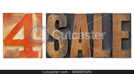 for sale sign in letterpress type stock photo, 4 sale sign - isolated text in vintage letterpress wood type with red number four by Marek Uliasz