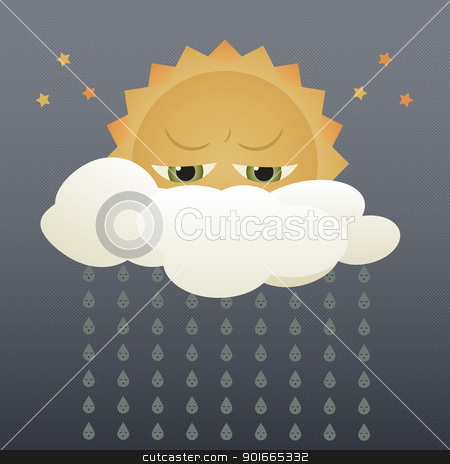 Rainy Day stock vector clipart, Illustration of rainy weather, with cartoony sun and raindrops on a dark cloudy sky. by Psychopu