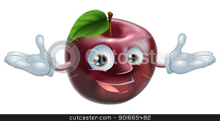Apple mascot stock vector clipart, A cartoon character apple fruit man mascot by Christos Georghiou