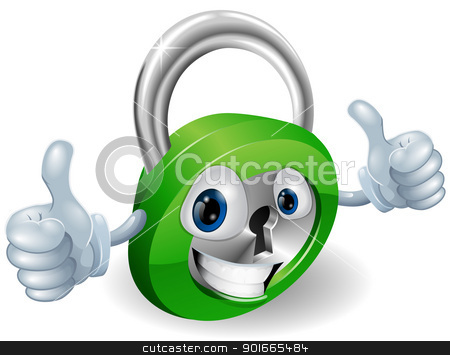 Thumbs up padlock cartoon character stock vector clipart, Happy padlock security concept mascot illustration  by Christos Georghiou