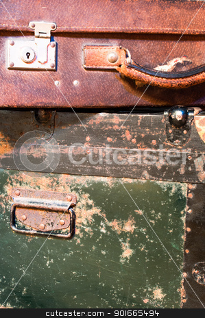 Old worn suitcases stock photo, Old worn suitcases close up by Nanisimova