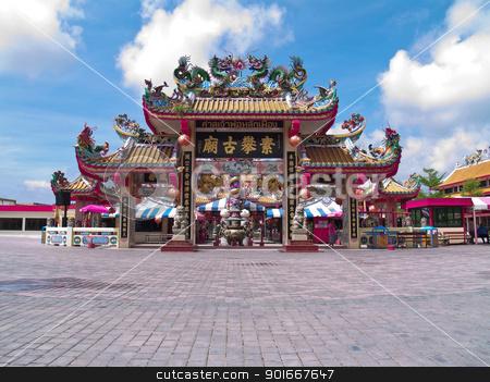 Shrine entrance stock photo, Entrance of City Pillar Shrine of Suphanburi, Thailand by Exsodus