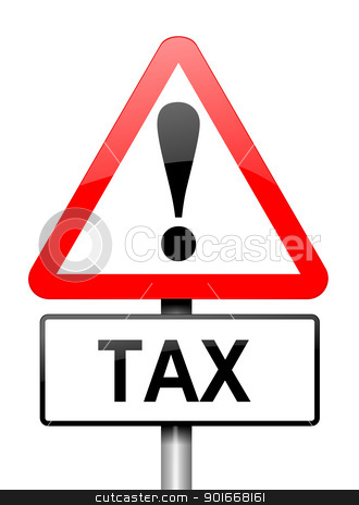 Tax warning. stock photo, Illustration depicting a red and white triangular warning sign with a tax concept. White background. by Samantha Craddock