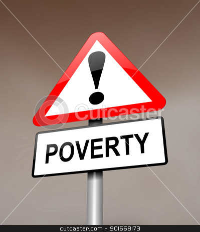 Poverty warning. stock photo, Illustration depicting a red and white triangular warning sign with a poverty concept.Dark blurred sky background. by Samantha Craddock