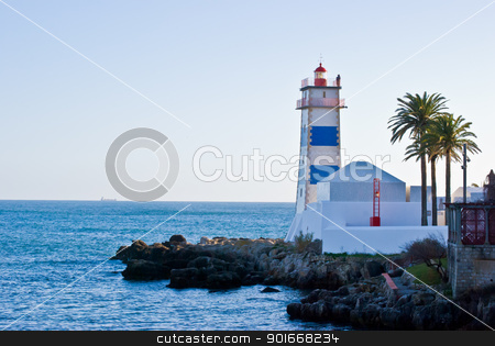 Lighthouse stock photo, Lighthouse in the harbour of Cascais, Portugal by Juliane Jacobs