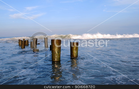 Sea and Wood-Logs stock photo, Several wood logs standing deep in blue water with white waves and blue sky in the background during sunset. by Rahul Kumar