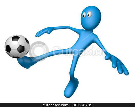 soccer stock photo, blue guy with soccer ball - 3d illustration by J?
