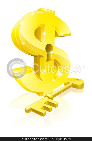 Dollar key lock concept stock vector clipart, Conceptual illustration of a gold dollar sign and key. Concept for unlocking financial success or cash or for financial security. by Christos Georghiou