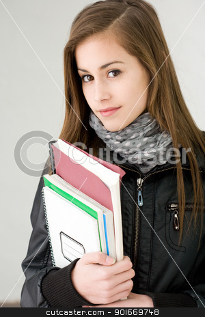 Attractive cool fashionable student girl. stock photo, Half length portrait of an attractive cool fashionable student girl. by exvivo