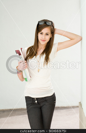 Fresh young student girl. stock photo, Portrait of a fresh happy young student girl. by exvivo