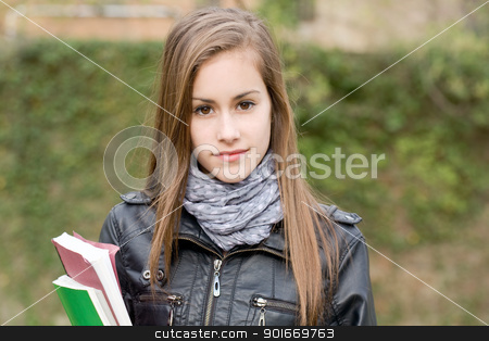 Cool fashionable young student girl outdoors. stock photo, Portrait of a cool fashionable young student girl outdoors. by exvivo