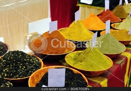 Colored spices stock photo, Beautiful variety of spices in a bazar in Florence by Maurizio Martini