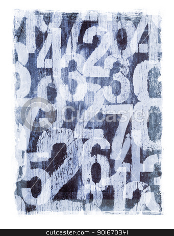 Grunge Numbers stock photo, Dirty and stained number texture. by Stocksnapper