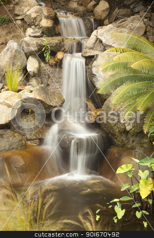Japanese Zen Garden Stream stock photo, Beautiful Japanese Zen Garden Stream with Time-Lapse Slow Shutter. by Andy Dean
