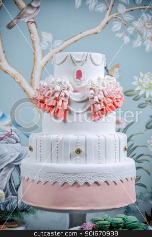 Wedding Cake stock photo, Image of a beautifully decorated wedding cake by Greg Blomberg