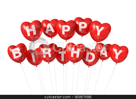 Red Happy Birthday heart shape balloons stock photo, 3D red Happy Birthday heart shape  balloons isolated on white background by Laurent Davoust