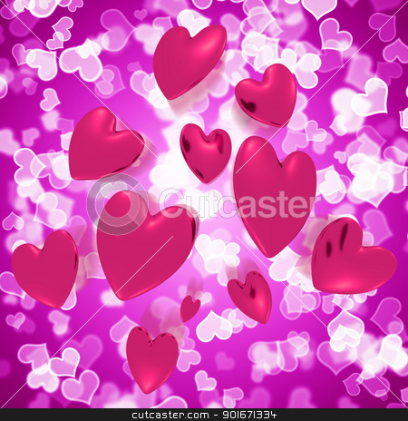 Hearts Falling With Mauve Bokeh Background Showing Love And Roma stock photo, Hearts Falling With Mauve Bokeh Background Shows Love And Romance by stuartmiles