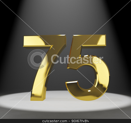 Gold 75th Or Seventy Five 3d Number Closeup Representing Anniver stock photo, Gold 75th 3d Number Closeup Representing Anniversary Or Birthdays by stuartmiles