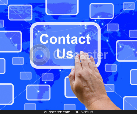 Contact Us Button On Blue For Helpdesk Or Assistance stock photo, Contact Us Button On Blue For Helpdesks Or Assistance by stuartmiles