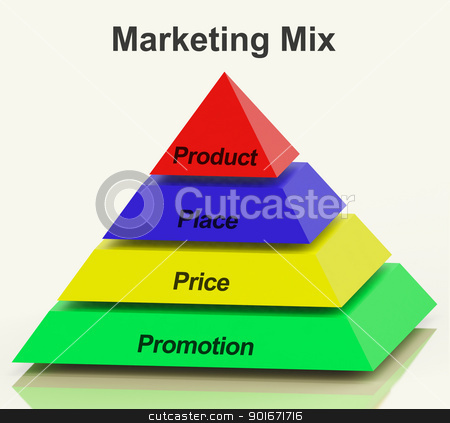 Marketing Mix Pyramid With Place Price Product And Promotion stock photo, Marketing Mix Pyramid With Place Price Product And Promotions by stuartmiles
