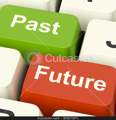 Past And Future Keys Showing Evolution Aging Or Progress stock photo, Past And Future Keys Shows Evolution Aging Or Progress by stuartmiles