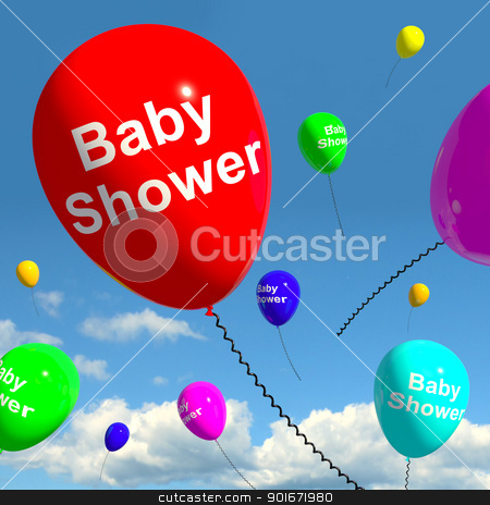 Baby Shower On Balloons In Sky For Newborn Birth Party stock photo, Baby Shower On Balloons In Sky As Newborn Birth Party by stuartmiles