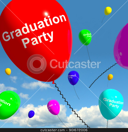 Graduation Balloons Showing School College Or University Graduat stock photo, Graduation Balloons Shows School College Or University Graduation by stuartmiles