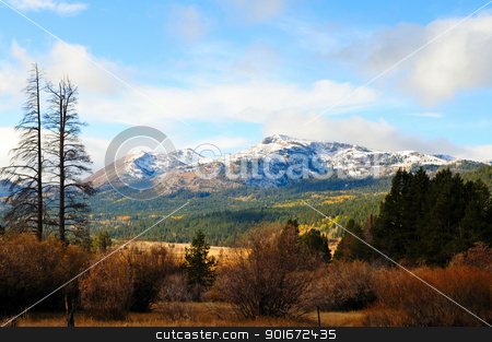Fall Season In The Sierras stock photo, An early snowfall covers the mountains in the distance with assorted foliage in fall colors in the foreground located in Hope Valley California by Lynn Bendickson