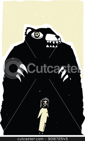 Hungry Bear stock vector clipart, Woodblock print style image of bear menacing a girl. by Jeffrey Thompson