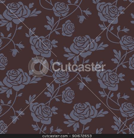 Roses damask seamless pattern stock vector clipart, Romantic dark roses seamless pattern, repeating design, vector illustration by Ela Kwasniewski