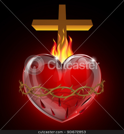 Illustration of the Sacred Heart stock vector clipart, Illustration of the Most Sacred Heart of Jesus. A bleeding heart with flames, pierced by a lance wound with crown of thorns and cross.  by Christos Georghiou