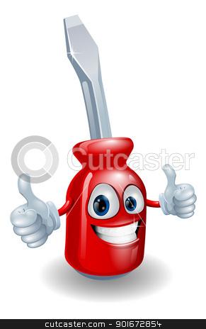 Screwdriver mascot character stock vector clipart, Cartoon screwdriver illustration giving a double thumbs up by Christos Georghiou